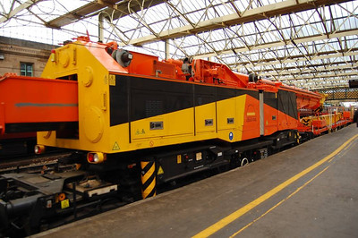 In  the consist of the 6K05 was this Kirow crane in Colas Rail colours. I could not see a number anywhere on this crane