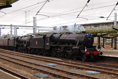On 23rd April 2013 the Great Briton VI railtour passed through Carlisle. As I understand it 46115 Scots Guardsman was intended to be the motive power for this leg (1Z60, Preston to Edinburgh) but a pair fo Black Fives appeared. Here are 44871 and 45407 arriving at Carlisle, approximately 20 minutes late.