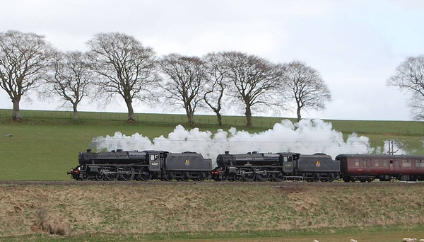 44871 and 45407 going well north of Lockerbie on 23rd April 2013. They were going so well that I wish I had taken a video camera instead of the SLR.