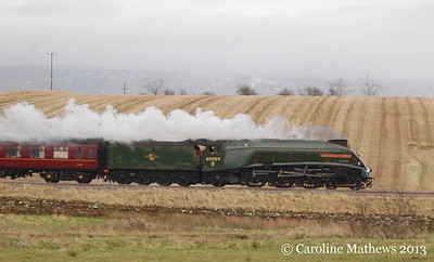 "60009 ""Union of South Africa"" working the 1Z88 Carlisle to Euston  on Saturday 16th February 2013, steaming well as she heads towards Culgaith from Langwathby."