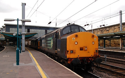37601 setting out from platform 3 at Carlisle with 37608 and a train of flasks: Carlisle, 24th April 2013