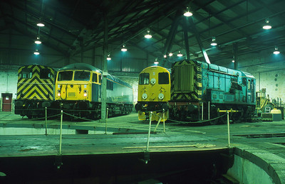 A fine recreation of a scene inside Barrow Hill shed during its last years under BR, courtesy of the East Midlands Railway Photographic Society. 4/10/02