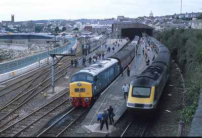 45112 at Penzance during a Fragonset Railways charter. This loco partially failed on its return run to Birmingham and had to be helped up the Lickey Incline by the tailing engine, 31459. 21/7/01