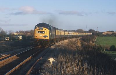The 'East Lancs Envoy' is seen near Bridlington behind 40145. 24/1/04