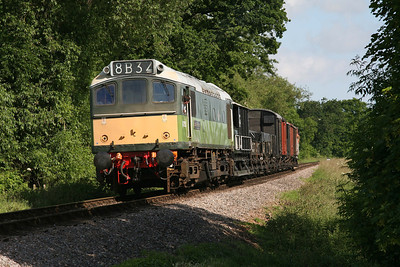 D7523 approaching Bishops Lydeard on an early morning freight working