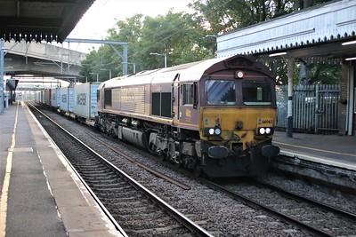 66063 is seen passing Dagenham Dock at 202/4L56 Trafford Park to London Gateway   10/07/20