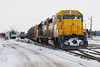 GP40-2 2201 and GP38-2 1800 at the head of the regular mixed train (Little Bear) in Moosonee 2007 April 14th.