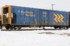 Ontario Northland mechanical refrigeration unit 251 at Moosonee. Note reflection on part of equipment is from locomotive immediately ahead of 251.