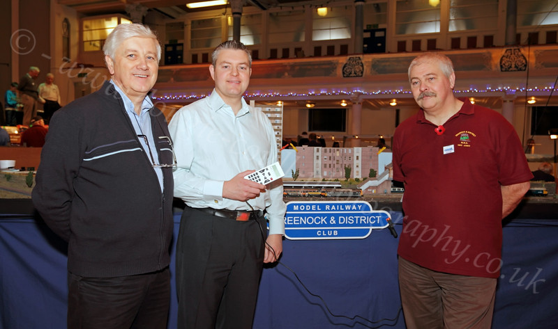 Stuart McMillan MSP - with Committee Members Neill and Mike - at the Model Railway Exhibition - Town Hall - 5 November 2011