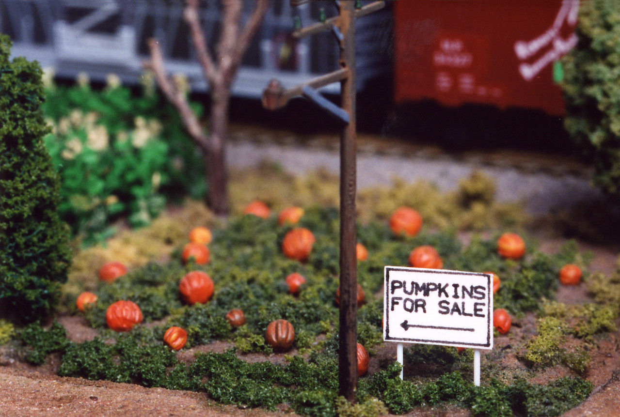 "A tiny 160th scale (N Scale) pumpkin patch.  This is part of the ""Farm Module."""