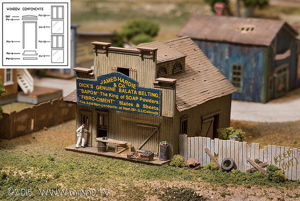 The James Hardie & Co. general store is perhaps the best looking and most detailed model building I've made. It was a very complicated laser-cut kit - meaning the pieces were cut by laser; allowing for tiny detail. For example, each window consisted of 9 individual pieces... All at 160th scale (i.e. this building is perhaps an inch tall).  The roof is made-up of rows of paper shingles, each laid by hand and then weathered and bent for realism.  Door knobs were created by using a dab of brass paint applied with the head of a needle.