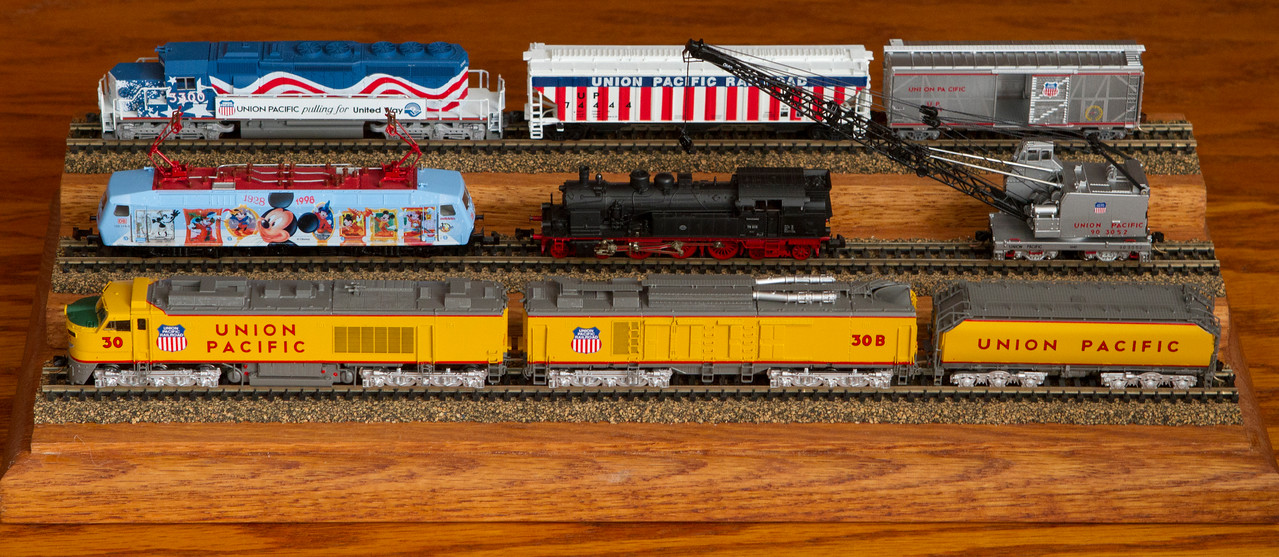A small display of some of my favorite, most beautiful, and/or sentimental N scale trains.