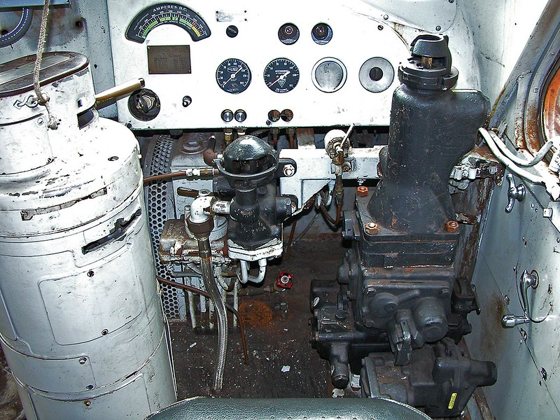 Inside the cab of an Anthracite Railroad Historical Society ex-BAR F3 found at Jim Thorpe, PA in 2002. This unit has been repainted Lackawanna and sometimes operates at Steamtown.