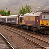 7th May 2011. EWS Class 67 67011 stabled at Fort William with the overnight Caledonian sleeper cars.
