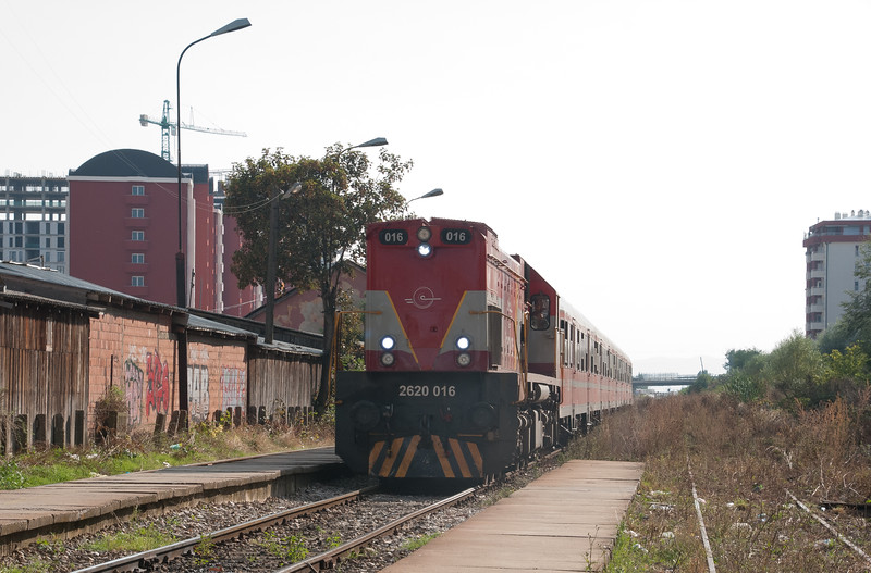 The train from Peje arrives at Pristina station with one of a former  total of 34 GT22HW-2 locomotives which were built for Yugoslavia in the 1980s by Duro Dukavic under license from General Motors. Seemed in good condition with its cast off DB carriages in tow.