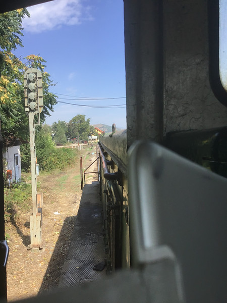 The view from the cab as it heads back towards Bitola station after heading a short distance along the line to the Greek border