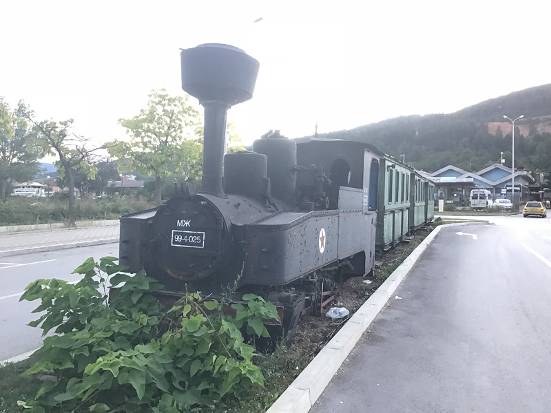 Outside of the station one of the original narrow gauge trains is plinthed. Betrayling its military origins the loco is a German Brigadelok. Kicevo is a good jumping off point for the serious mountains of the Mavrovo national park which is where we went for a few days.