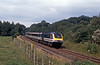 Sunday 16th July, Respryn Bridge between Bodmin Parkway and Lostwithiel and an FGW HST in original Great Western livery. The driver gives me the thumbs up.