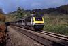 At Llanharen, between Cardiff and Bridgend, a London bound HST speeds past, the weather was looking rather gloomy.
