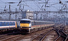 This was my reason for getting to Ally Pally at this time of the afternoon, the 17:36 King's Cross to Peterborough which was being used to run in new class 91s using an HST set in which one of the Valenta powered power cars was replaced by the 91. Originally it was planned to leave the rear power car idling but IIRC this gave rise to overheating problems and so both it and the 91 powered the train. The acceleration of this 8500 hp combination was almost Ferrari like!