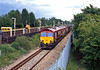 on June 6th all Channel Tunnel traffic was diverted via the South eastern mainline through Headcorn and onward, either via Sevenoaks or via Redhill. 66073 and another 66 creep into the freight loop at Headcorn with the 6B38 Connectrail wagonload train from Lille (Somain).