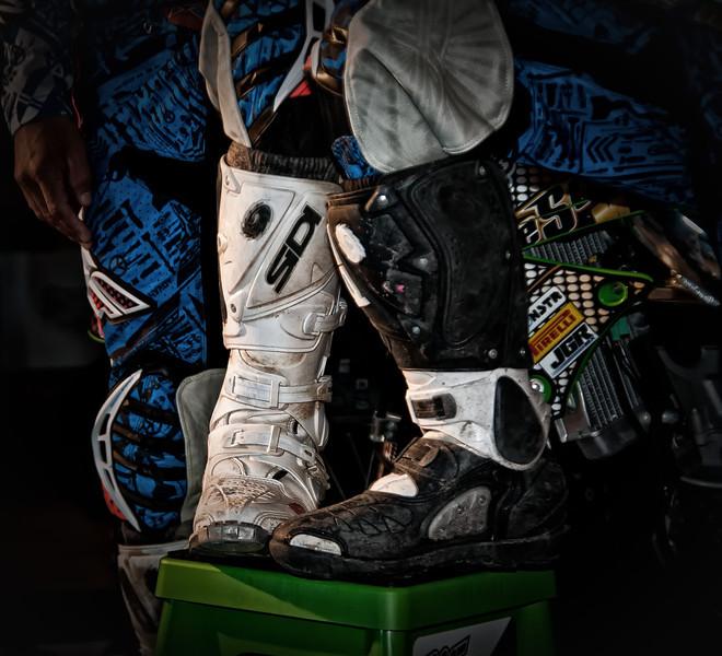 "Riding gear from the Denver Colorado motocross team, ""5 Stones Racing""."