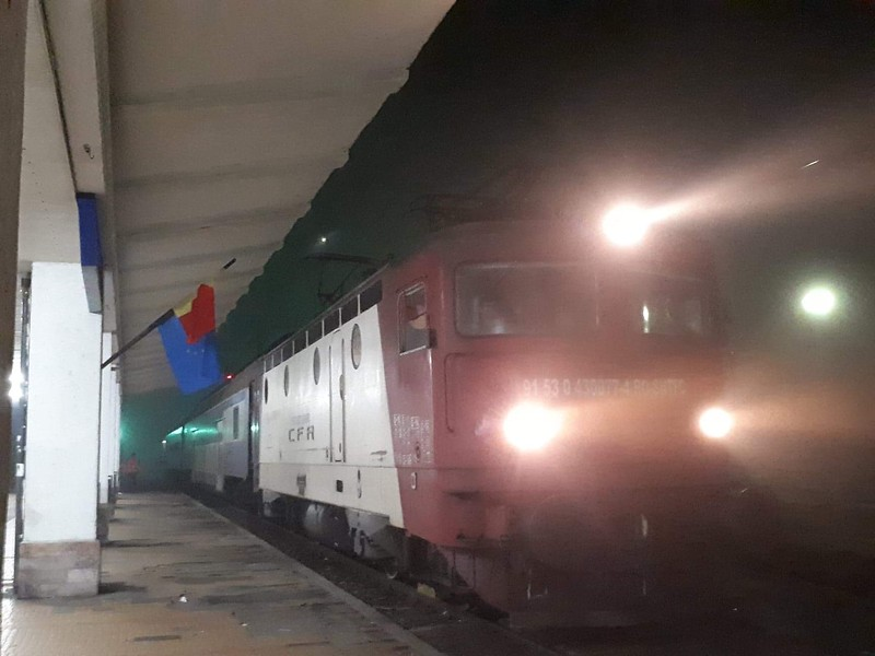 Our train from Tecuci pictured at Marasesti