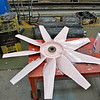 The refurbished rad fan blade has been descaled and aluminium etch primer applied.<br /> 10th September 2016.