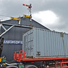 """The grey container that was the factory stand by generator for 'Alexander Workwear' for many years arrives at Bo'ness """"Skunk Works """" on 28th June .<br /> This container and its very rare contents have been on the Bo'ness Diesel group radar for many years.<br /> We are very very grateful that the new owner wishes to house it with us."""