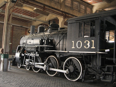 """Atlantic Coast Line #1031--- The locomotive was built by the Baldwin Locomotive works in June, 1913. This 4-6-0 Ten Wheeler was one of 25 ordered at that time by the ACL. These class of locomotives earned the nickname """"Copperhead"""" because of the bright copper rings around the tops of the smokestacks"""
