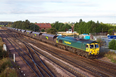 66549 passes Stainforth Junction with 4E59 Ratcliffe Power Station to Immingham empties. Thursday 27th September 2012.