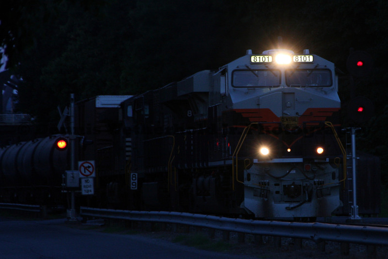 NS 69Q with the Central of Georgia Heritage Unit passes MP 89 on the Reading Line in Bethlehem, PA