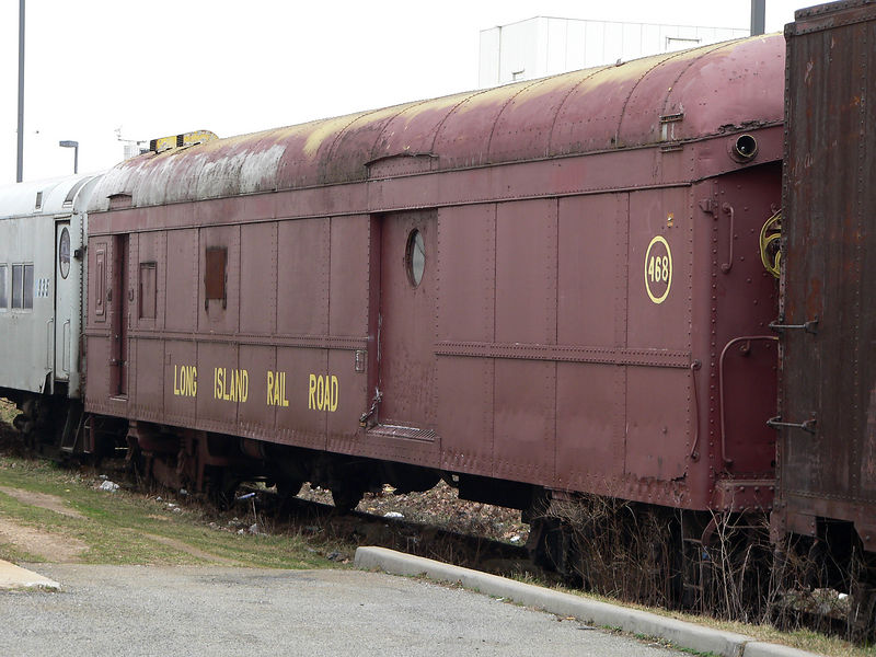 LIRR #468 baggage/mail car. Owned by Friends of Locomotive #35. This group is in the process of restoring steam locomotive #35, a 1928 4-6-0 built by the Pennsylvania RR for the LIRR. They are also establishing a museum in the old Oyster Bay LIRR station. All of their rolling stock will be on display there. There is also a turntable which is being restored.
