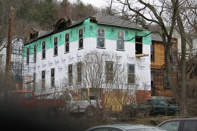 Work is progressing rapidly on the Olympia Hotel in Callicoon NY on 3/30/09.