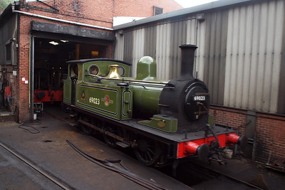 Joem sits outside the shed at Grosmont.