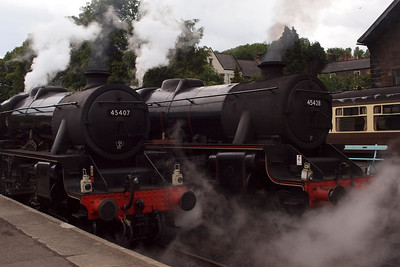 45407 and 45428 at Grosmont, side by side.
