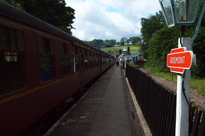Grosmont station, with the Esk Valley line to the right.