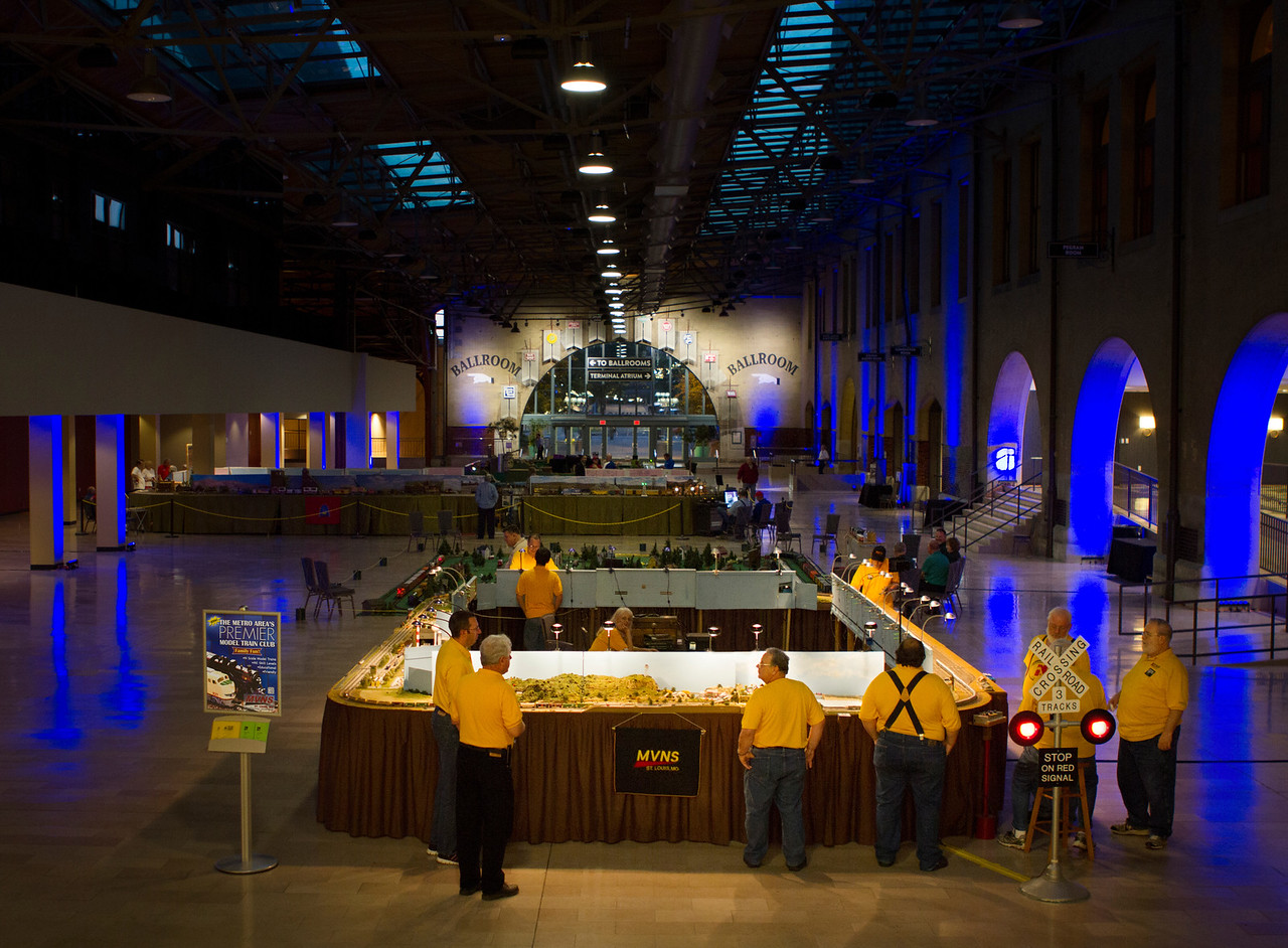 The Mississippi Valley N Scalers operating a modular layout for a private VIP event at St. Louis' Union Station on May 9, 2014.