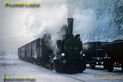 97.207 at Präbichl station, 25th January 1973