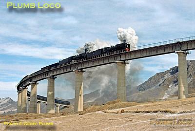 Eastbound QJs, Simingyi Viaduct, 13th November 2002