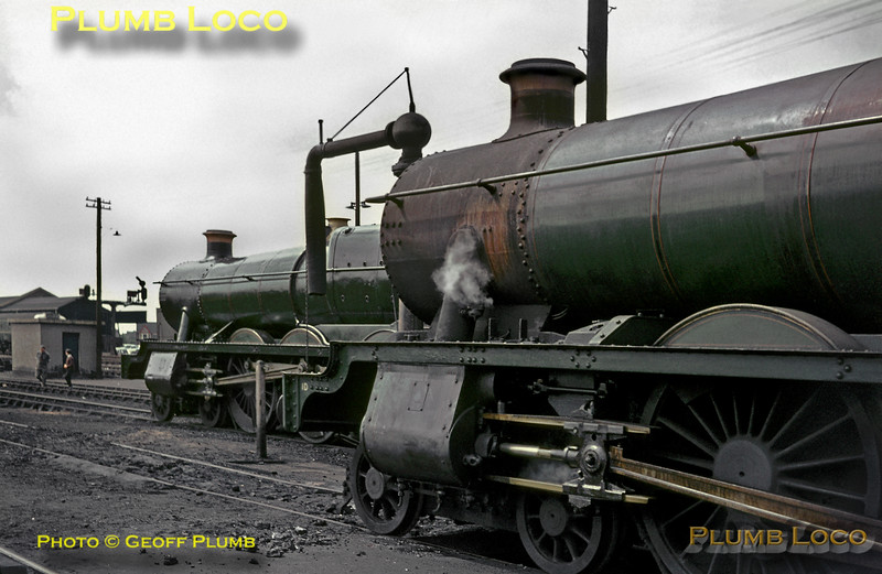 """GWR """"Halls"""" Nos. 6959 & 6938, Southall MPD, 13th June 1965"""