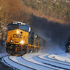CSX Q437 with short train heads west through Middlefield three days into the new year.
