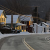 Morning light hits the houses along Route 20 in Chester.