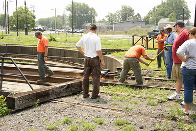 Lining up and securing the turntable tracks.