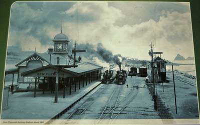 Photograph of New Plymouth station about 1905. Although freight continues to travel by train from New Plymouth there has been no regular passenger service since the 1980s.