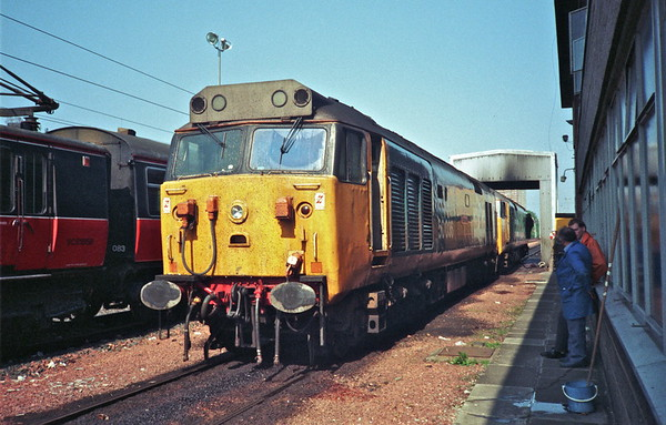 "Class 50s, 50036 and 50009 at Corkerhill fuel point after working the 1Z46 08:30 Birmingham New Street to Glasgow central "" The Hoover Dambuster "" railtour on 14th May 1988."