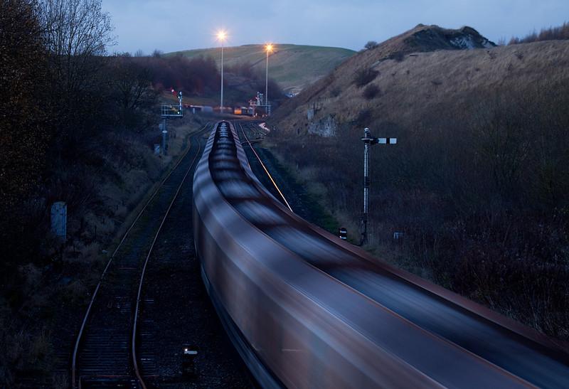 Rock train departing Great Rocks Jct. towards Peak Forest South.