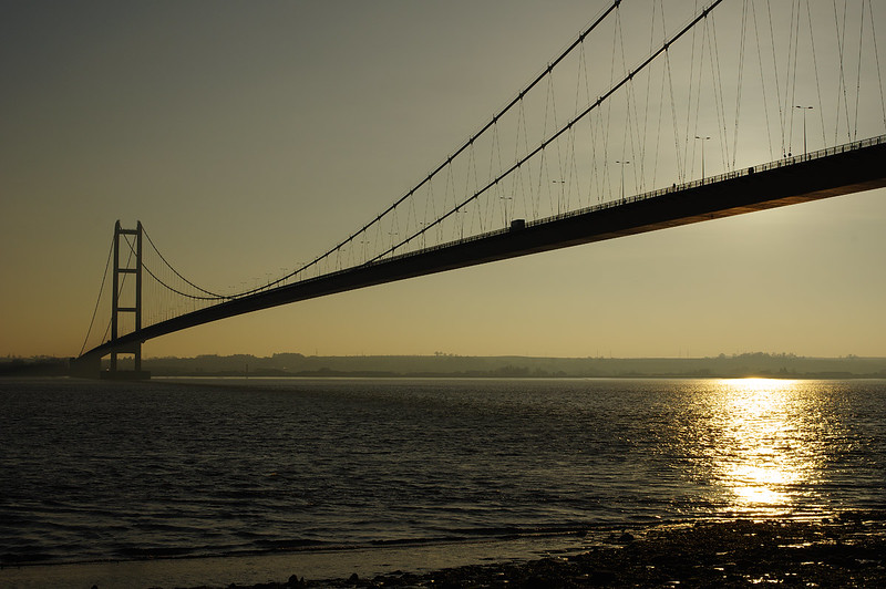 Upon returning to my car on Dec 20th 2016, I was packing my camera into the boot and realised that the sun had dipped behind the roadway of the Humber Bridge - shot on?