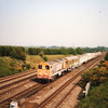 Spring 1989 and the 2 x Class 20 Weedkiller circular tour of Kent is seen between Newington and Rainham.