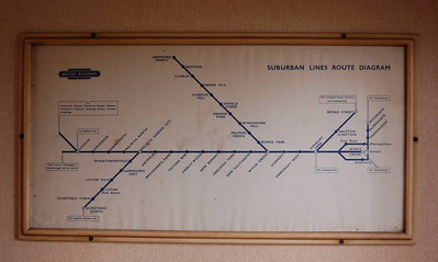 A suburban lines map in one of the compartments of the non-corridor coach in the rolling stock in use.